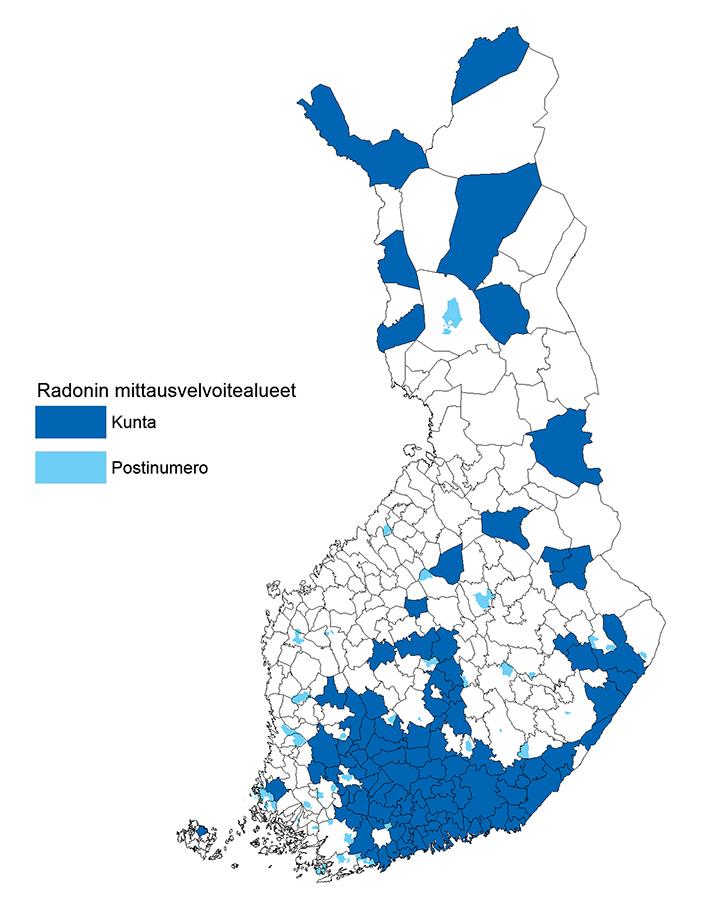 Radonin esiintymisalueet Suomessa